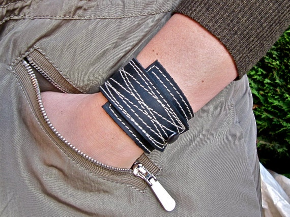 Black Leather Cuff Wrap Unisex, Stitched, Adjustable Size * SALE * Coupon Codes