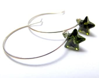 Olive Star Zirconia Hoop Earrings // Olive Green Zironia Stars // Silver Plated French Ear Hooks