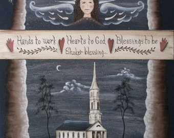 vintage Shaker Blessing Hands to Work angel print inspired by Martha-Mary Chapel, Sudbury, MA. Primitive folk art by Donna Atkins