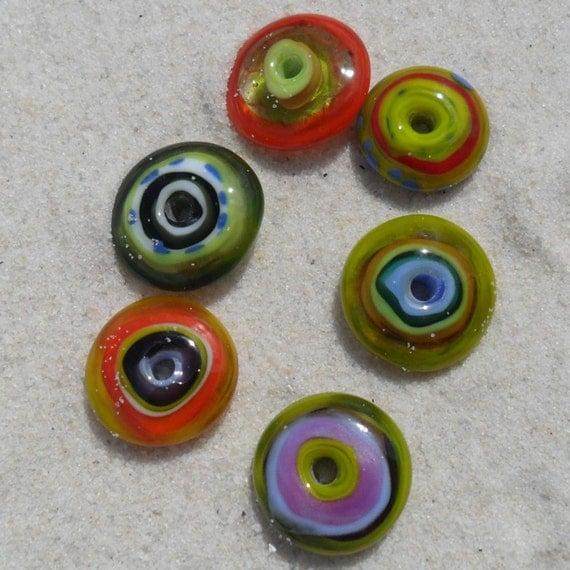 Lampwork Disks, 6 Colorful Chunky Disks, Artisan Handmade SRA LETEAM  Glassymom