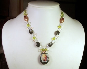 Green & Copper GUINEA PIG Wire Wrapped Beaded Necklace OOAK - Moss Agate, Glass, Copper Beads and Reversible Photo Pendant