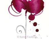 "Watercolor heart art print, splashy crimson heart: ""Coup de Coeur"""