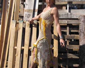 Boho luxe Crochet Vintage upcycled tea dyed Dress sz Sm by Krisztina Lazar