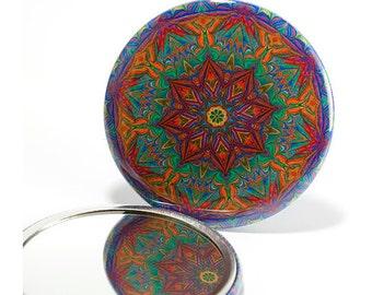 Pocket Mirror Mandala 9, Mandala Mirror, Kaleidoscope Mirror, Gifts under 5 Dollars