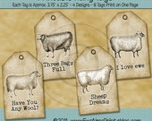 Printable Sheep Tags - Full Sheet Tags - Sepia Tone Rustic Farmhouse Style - Digital PDF and/or JPG file