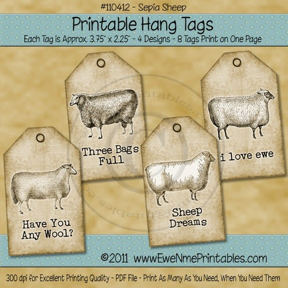 Printable Sheep Tags - Full Sheet Tags - Sepia Tone Rustic Farmhouse Style - Digital PDF and/or JPG file