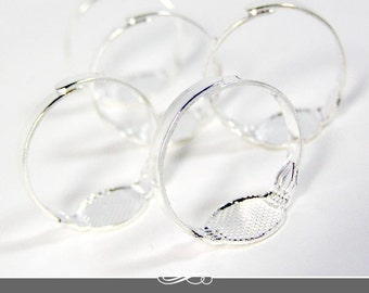 5 Pack Silver Plated Adjustable Silver Ring Blanks with Glue Pad. 5 Ring Backs or Ring Blanks.