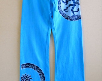 Wide pants, custom pants, wearable art, Shiva summer pants, hand dyed clothing turquoise batik, womens clothing Gift for her Festival pants
