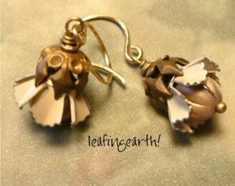 HAZELNUT BLOSSOMS  Vintage Brass and Enamel Flower Earrings