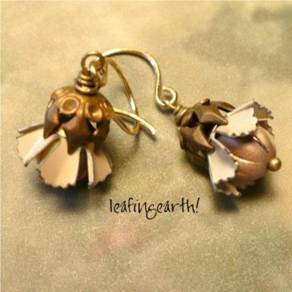 RESERVED for Wendy  HAZELNUT BLOSSOMS  Vintage Brass and Enamel Flower Earrings