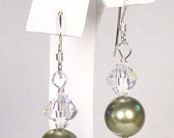 Green Bridesmaid Earrings, Sage Green Bridesmaid Jewelry, Green Weddings, Clear Crystal celedon, celery, sage, pistachio, Light Green