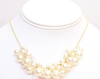 Ivory Pearl Cluster Bib Bauble Wedding Necklace, Chunky Bridal Necklace, cream, butter, off white, soft ivory, bubble, honey, diamond white