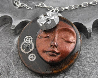 Steampunk Calm Copper Face Woman Mixed Media Necklace - The Royal Time Goddess by COGnitive Creations