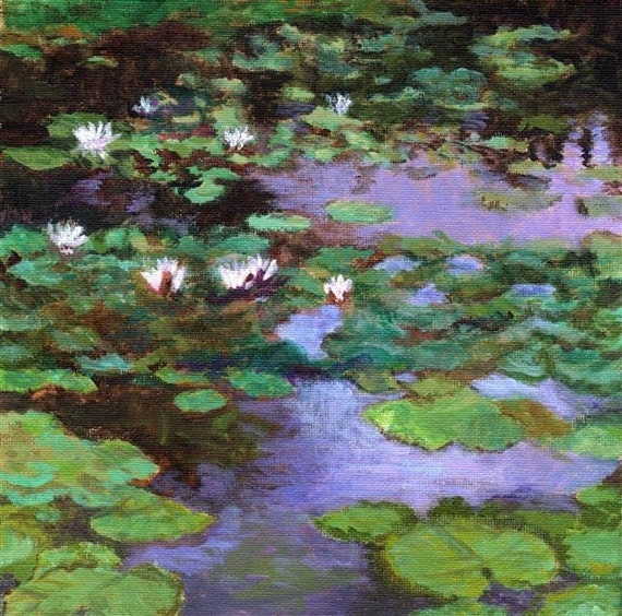 Waterlilies from France - Original painting on canvas green blue water reflections