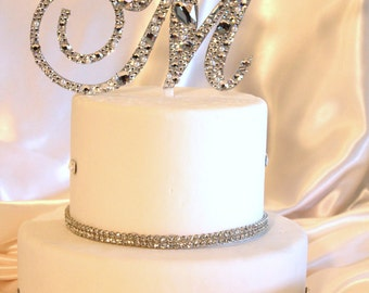 "3""-6"" Swarovski Mosaic Style Monogram Cake Topper ANY letter from the alphabet (a-z)"