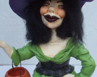 Hand Sculpted Clay Very Unusual Mixed Media Sexy Witch Make-Do HAGUILD PRETTY AWFUL