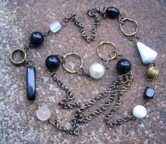 Timeless Necklace - Recycled Vintage Brass Chain and Beads in Black and White (Eco-Friendly)