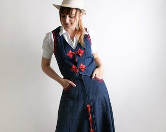 Vintage Cowgirl Dress - Southwest Outfit - Blue Jean Skirt and Vest 2 Piece Rodeo Prairie Harvest