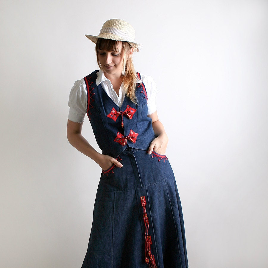 Vintage Cowgirl Dress Southwest Outfit Blue Jean Skirt and