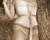 Cream satin Wedding Corset Custom Made to Measure Romantic Victorian Bride