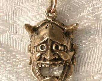 Hannya Mask Bronze Pendant