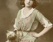 Yorkie Dog and Kathleen Instant Digital Download - Edwardian Antique Postcard 1915 - Photo Scan - Printable FrA052