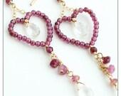 beaded heart earrings, garnet quartz crystal tourmaline, delicate jewelry, statement earrings romantic jewelry, beaded drops red stones SALE
