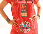 Mexican Dress Love Embroidered Dress red floral birds boho ethnic hippie