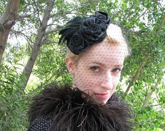 Black Feather Hat, Black Birdcage Veil, Feather Fascinator, Victorian Mourning Veil, Halloween Bridal, Noir Costume, Edwardian Ball