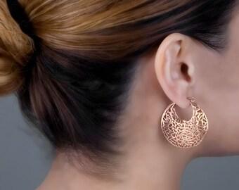 Large Boho Earrings, Rose Gold Earrings, Filigree Earrings, Moroccan Earrings,Statement Hoop Earrings, Gift For Mom, Bohemian Earrings