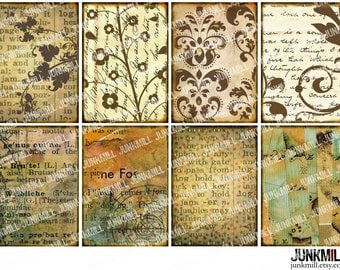 DISTRESSED ATC - Digital Printable Collage Sheet - Vintage ATC Backgrounds with Floral Swirls, Damask & Old Book Pages, Instant Download
