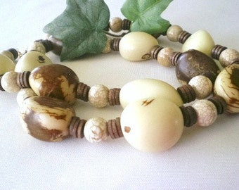 Brown Ivory Necklace, Chunky Wood Necklace, Palm Tree Seed, Naturally Harvested, Rainforest, OOAK, Free Ship USA. Women, Men, Birthday Gift