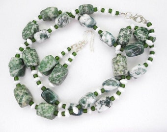 Green White Tree Agate Necklace Earrings - One of a Kind - FREE SHIPPING