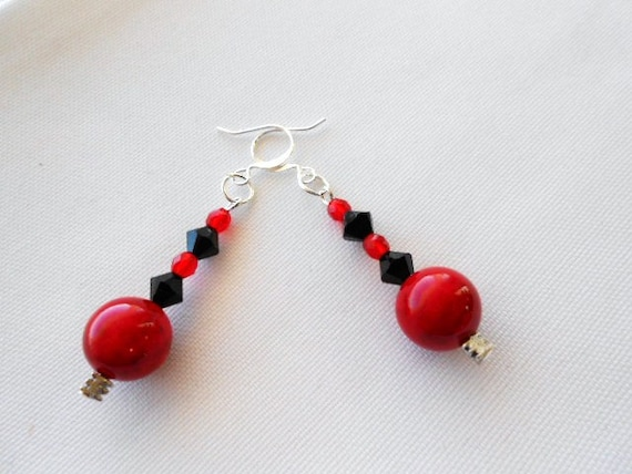 Red Fossil with Black Swarovski Crystal Earrings