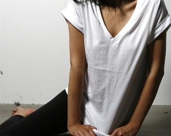 White Vneck Tee Made in USA, womens tops, white tshirt, simple tops, white tops, vneck shirts, cotton tops, vnecks, womens clothing, lamixx