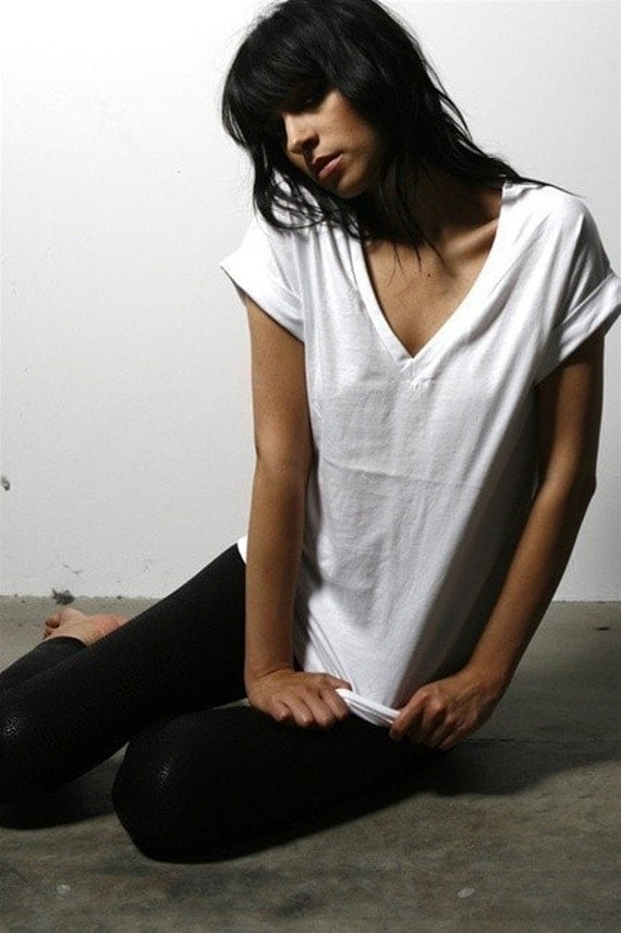 2 for 40 Deal Cotton Vneck Shirt - Basic Essential Womens Tops Choose Your Color
