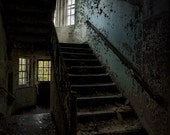 Stairwell in Abandoned Asylum Building 138 Fine Art Print, Old Building, Urban Exploration, Color, Texture, HDR Photograph Free Shipping