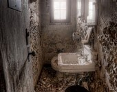 Old Abandoned Ladies Room, Old Toilet Bathroom in Asylum, Urban Exploration, HDR, Color Photograph of a ladies bathroom in an old building - garyhellerphotograph
