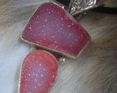 Pink Druzy necklace on Velvet