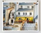 """Paris Rooftops Photo, Paris Photography, """"Rooftop Garden"""" Large Art Print, Colorful Wall Decor, Paris Decor"""