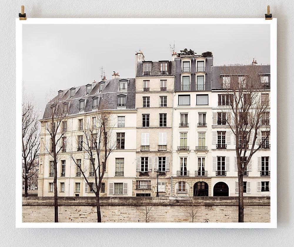 "Paris Print, ""Quai"" Extra Large Wall Art, Paris Photography Art Print, Oversized Art, Fine Art Photography Paris Decor"