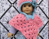 Doll Poncho and Earflap Hat, Crochet Doll Clothes,  Cotton Candy Pink, Fits American Girl and 18 inch Dolls
