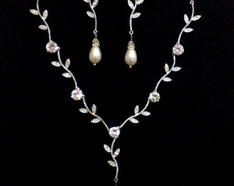 Twigs Wedding Jewelry Set, Cz Bridal Earrings, Vines Bridal Necklace, Leaves Bridal Jewelry, Pearl Earrings, Wedding Necklace, TWIGS