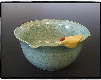 Turquoise Bowl with Yellow Chick with Wavy Rim