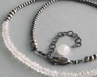 Moonstone Necklace on a Beaded Sterling Chain, Gemstone and Sterling Choker, Elegant and Minimal, Gift for Her, June Birthstone, Mothers Day