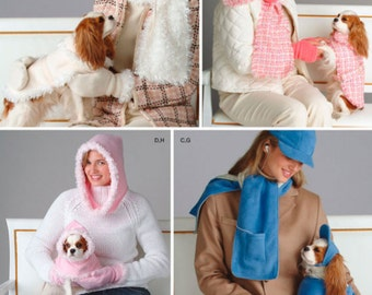 PET & ADULT Accessories Sewing Pattern - Dog Winter Hats Mittens Scarf Coats