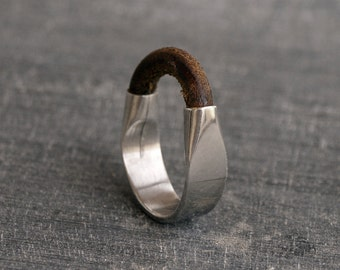 Mens Ring, Sterling Silver ring, Leather jewelery, Solid silver ring, gift for men  MADE TO ORDER