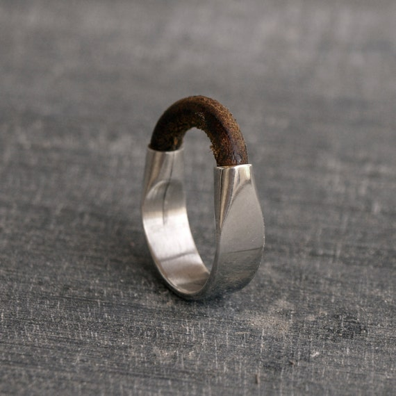 Fathers day gift, mens Sterling Silver ring, Leather jewelery Solid silver ring gift for men MADE TO ORDER