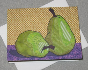 Art Quilt Note Card - Two Pears