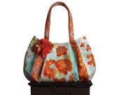 beautiful ORANGE CRUSH / Large Hobo zipper closure & flower / orange, cream, gold turquoise floral fabric bag